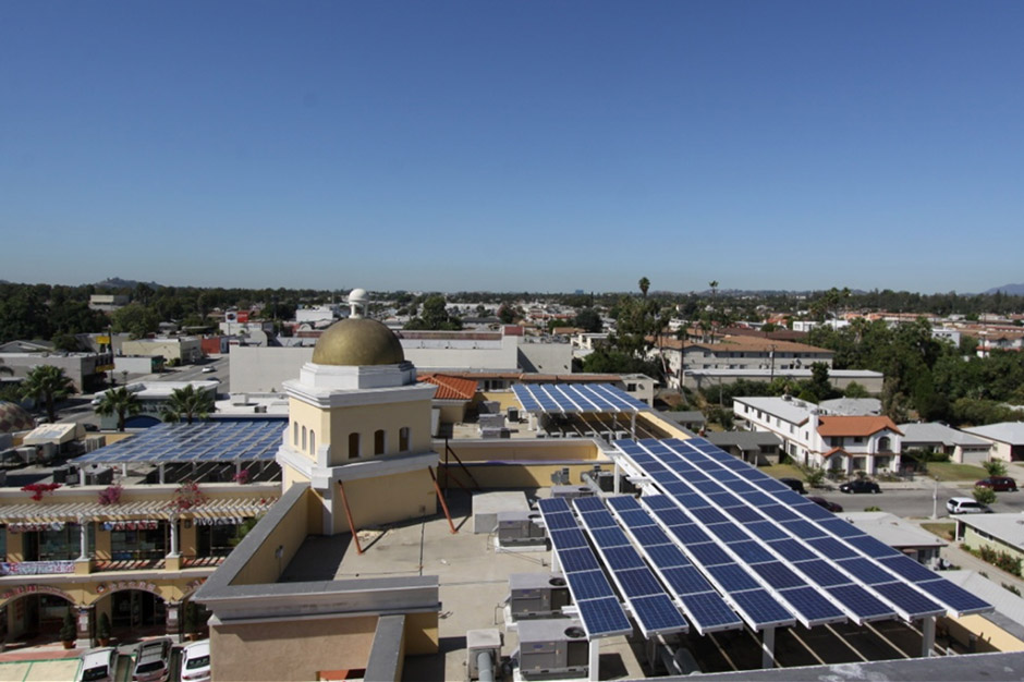 Rooftop solar panels for San Gabriel Hilton